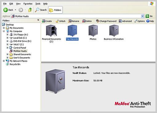 Screenshot of McAfee Anti-Theft