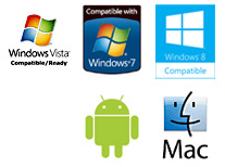 Compatible with Windows Vista, Windows7, Windows 8, MAC OS X and Google Android